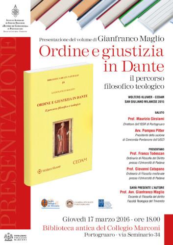 """Presentazione del libro """"Ordine e giustizia in Dante"""" di Gianfranco Maglio"""
